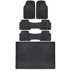 All Weather Black Floor Mats For Truck Van 3 Rows W Trunk Mat Bdk Quality Tech