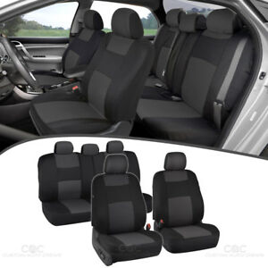 Car Seat Covers For Sedan Suv Truck Set Split Bench Zippers Charcoal Gray