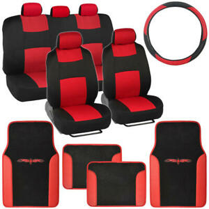 Red Black Car Interior Split Bench Seat Covers 2 Tone Floor Mats 14 Pc Set