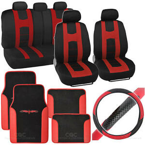 Complete Interior Set Car Seat Cover Mat Steering Wheel Cover Black Red