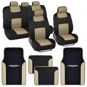 Car Seat Covers Set Black And Beige W Pu Leather Trim Carpet Pads Floor Mats