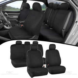 Full Set Sporty Fabric Car Seat Covers W Split Bench Option 5 Headrests