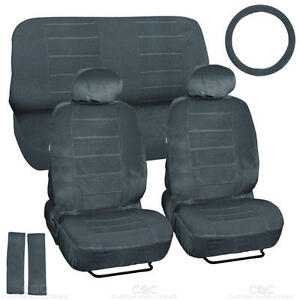 9 Piece High Back Car Seat Covers Regal Velour Fabric Dotted Tweed Charcoal