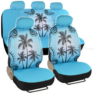 Blue Palm Tree Car Seat Cover Front Rear Full Set Auto Accessory Universal Fit