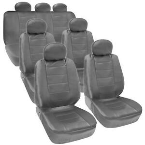 Van Suv Seat Covers 3 Row Pu Leather Side Armrest Airbag Compatible Gray