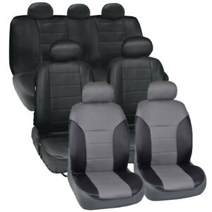Van Suv Seat Covers 3 Row 2 Tone Color Pu Leather Covers Black Gray