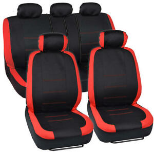 Black Red Cloth Car Seat Covers Split Option Bench And Steering Wheel Cover