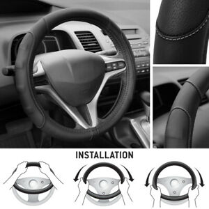 Synthetic Leather Steering Wheel Cover Black W Gray Stitching Sport Grip Small