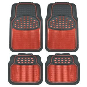 Metallic Rubber Floor Mats Red For Car Suv Truck Black Trim To Fit 4 Piece