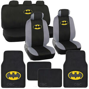 Officially Licensed Batman Full Set Seat Cover Floor Mat W Car Accessory