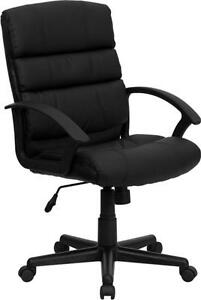 Flash Furniture Mid back Black Leather Office Chair Go 1004 bk lea gg New