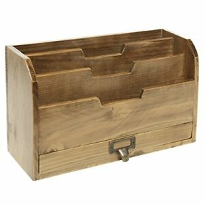 3 Tier Country Vintage Wood Office Desk File Organizer Mail Storage Drawer