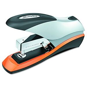87875 Optima Desktop Staplers Half Strip 70 Sheet Capacity Silver Black Orange