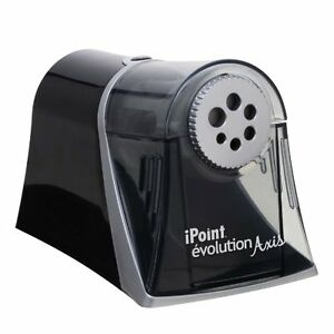 Westcott Electric Ipoint Evolution Axis Heavy Duty Pencil Sharpener Black Silver