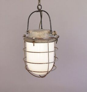 Early 1900s Industrial Light Lamp Lantern Pendant Metal Cage Glass 8487