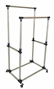 Premium Heavy Duty Double Rail Adjustable Rolling Clothing And Garment Rack