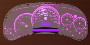Gm Chevy White Cluster Face Temp Gauge Purple Led Including Steppers 03 04 05 06