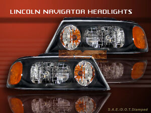 1998 1999 2000 2001 2002 Lincoln Navigator Headlights Black