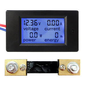 Dc 6 5 100v 20a 50a 100a Lcd Digital Current Voltage Power Energy Panel Meter