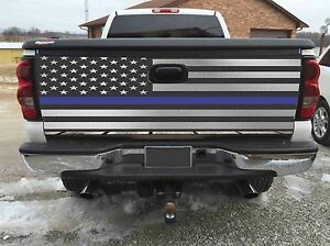 American Flag Blue Line Police Tailgate Wrapvinyl Graphic Decal Sticker Wraps3m