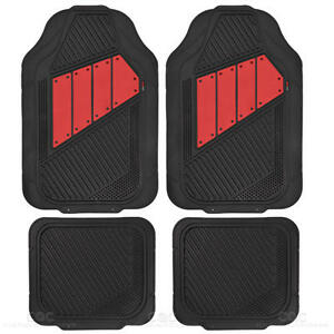 Flextough Red Solid Rubber Floor Mats Heavy Duty Deep Channeled For Car Van Suv