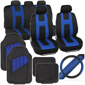 14pc Set Car Seat Covers Rubber Mats Steering Wheel Cover Rome Sport Blue