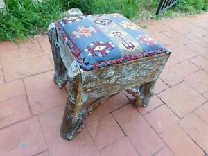 Vintage Adirondack Twig American Indian Tapestry Covered Stool Bench