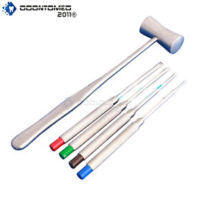 5 Pcs Dental Ridge Chisels Mallet Bone Surgical Extracting Instruments