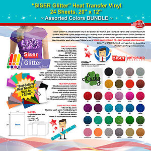 Siser Glitter Heat Transfer Vinyl 24 Sheets 20 x12 Assorted Colors Bundle