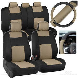 Black Tan Car Seat Covers For Auto W 2 Tone Pu Leather Steering Wheel Cover