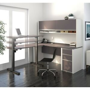Bestar Connexion L shape Desk Office Suite With Hutch Slate amp Sandstone