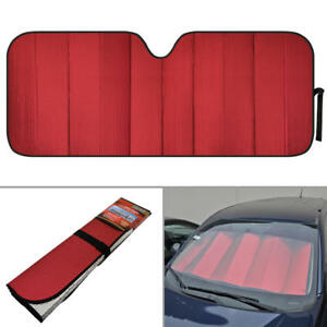 Foldable Jumbo Car Window Cover Sun Shade Auto Visor Red Foil Reflective