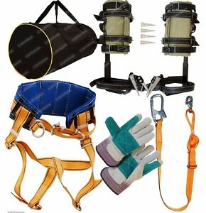 Tree Climbing Spikes Spurs Gaffs Safety Belt Adjustable Lanyard Bag Gloves