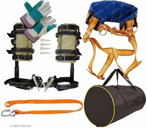 Tree Climbing Spikes Kit Spurs Set Safety Belt Safety Lanyard Bag Gloves