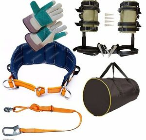 Tree Climbing Spike Set Safety Belt Adjustable Safety Lanyard Gear Bag gloves