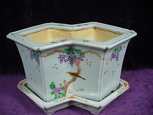 Antique Chinese Famille Rose Porcelain Planter Daoguang Mark