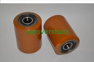 A Pair Of Brand New Pallet Jack Poly Load Wheels With Bearings 3 25 d X 4 50 w