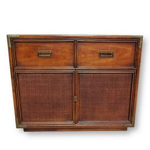 Vintage Henredon Campaign Cane Small Cabinet Chest W Brass Mid Century Modern