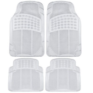 4pc Transparent Rubber Car Floor Mats Heavy Duty All Weather Clear Front Rear