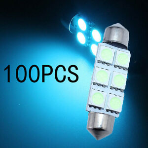 100x Ice Blue 8 smd Led Map Dome Interior Lights Bulbs 42mm Festoon 578 211 212