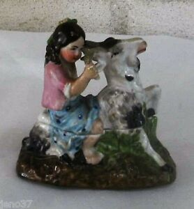 Antique Adorable Trinket Box Young Girl Riding Goat Staffordshire Or German
