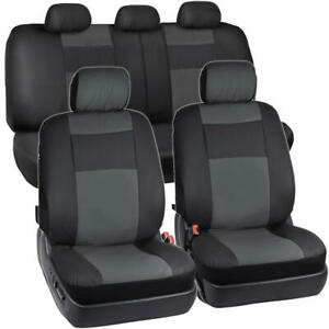 Charcoal Black Pu Leather Full Seat Cover Set W Headrest Covers Sedan Truck Suv