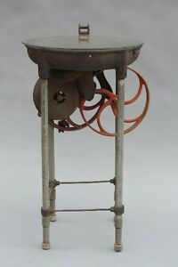 Early 1900s Industrial Side Table W Gears Antique Machine Vintage Factory 9220