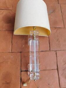 Vintage Retro Lucite Acrylic Demi Lune Form Wall Sconce Light Lamp