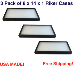 3 Pack Of Riker Display Cases 8 X 14 X 1 For Collectibles Jewelry