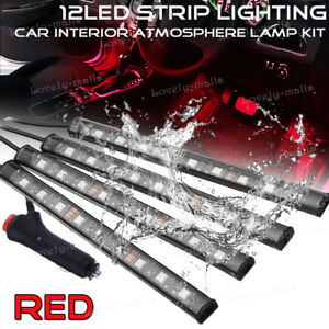 Red Color Bar Glow Dash Footwell Interior Light 5050 Led Smd Strip Lamp For Jeep