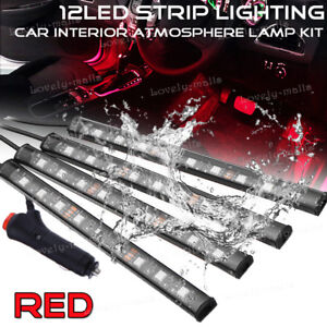 Red Color Bar Glow Dash Footwell Interior Light 5050 Led Strip Lamp For Cadillac