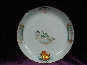 Antique 18c Chinese Export Famille Rose Armorial Porcelain Plate 10