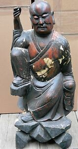 Antique Chinese Carved Wood Figurine 36 Inches Tall