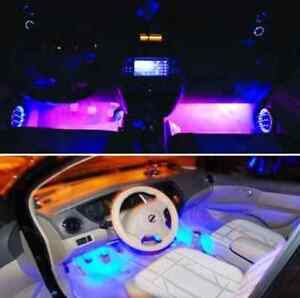 4x 3led Car Charge Interior Accessories Atmosphere Lamp Floor Decorative Light